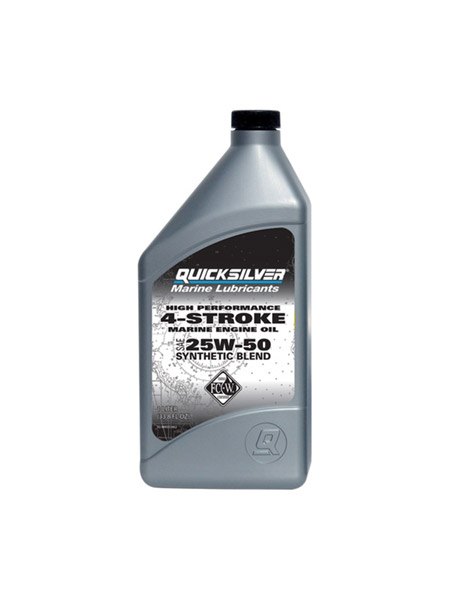 Quicksilver 25W50 Synthehtic Blend 4-Stroke Oil is recommended for Mercury Verado and all other high performance marine engines.  Often used in marine racing engines, this synthetic blend oil outperforms automotive oils in marine applications because of its specialized additive package designed for marine engines. Continued use of this oil will provide outstanding wear and corrosion protection, which help extend engine life, minimize performance-robbing carbon deposits, maintain peak engine performance and reliability, and reduce oil consumption. Meets all sterndrive and inboard manufacturers' warranty requirements and recommendations for use of an FCW® oil.  Key Features      Maintains viscocity under the most extreme operating conditions produced by racing (High RPMs and temperatures) tow sports and fishing (alernating between periods of high RPM's and throttling down to low RPM's or idle.)     Protects against varnish buildup and sludge formation     Exceeds the rust protection requirements for NMMA certification